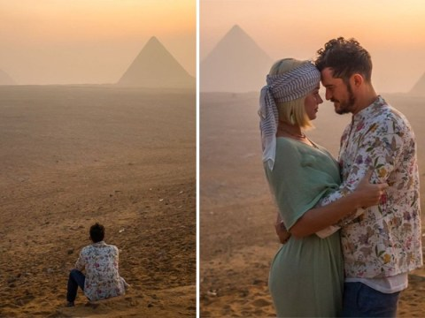 Orlando Bloom and Katy Perry are couple goals as they pose in front of the Giza pyramids in Egypt