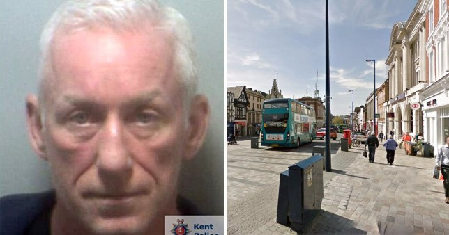Convicted paedophile Derek O'Rourke next to picture of Maidstone town centre