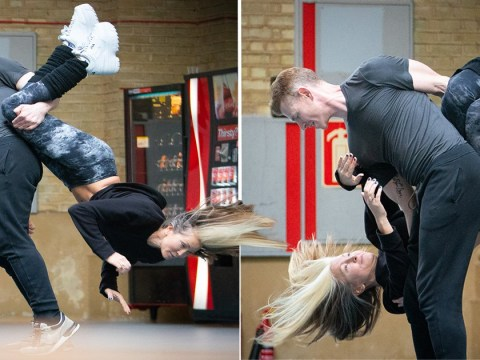 Caprice practices the dreaded headbanger move as she prepares for Dancing On Ice debut