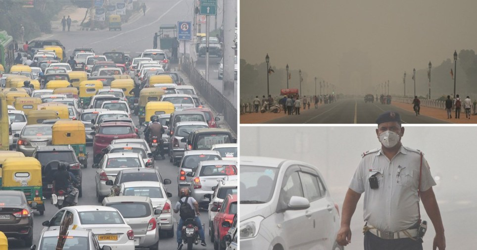 Compilation of air pollution in New Dheli, India, in November 2019