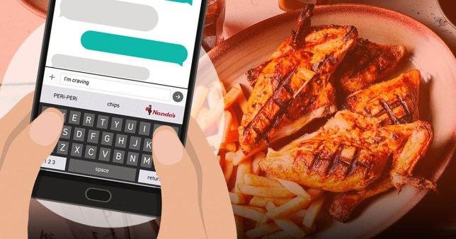 A hand typing I'm craving into predictive text with Nando's chicken in the background
