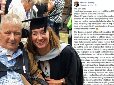 Paralysed cyclist says goodbye on Facebook before switching off life support