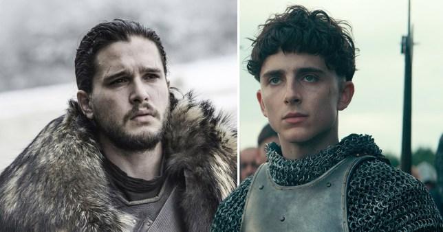 Kit Harington dans le rôle de Jon Snow et Timothee Chalemet dans le roi Henry V dans The King