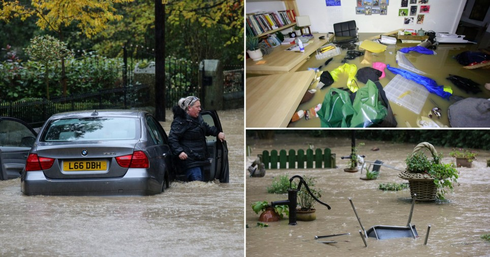 People were pictured struggling through flood water