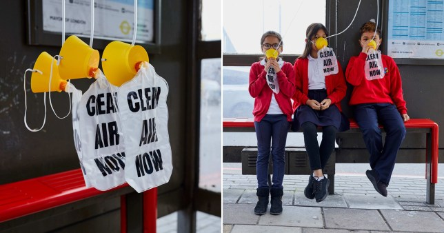 Anti-pollution group The Air Team install aeroplane style oxygen masks on a east London bus stop to raise awareness of dangerous toxic air (Picture: Rex Features)