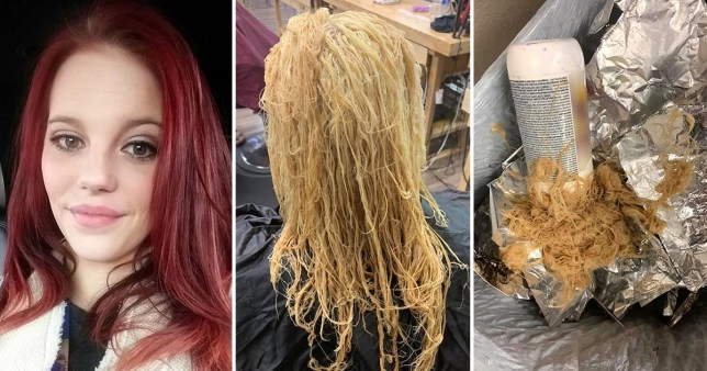 Woman's hair before and after bleaching it at home which made it fall out