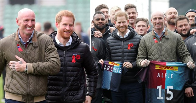 Prince Harry and former Wales rugby captain, Gareth Thomas attend a Terrence Higgins Trust event ahead of National HIV Testing Week (Photo by Chris Jackson/Getty Images)