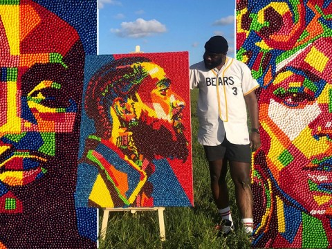 Artist makes powerful portraits of influential black people using Skittles