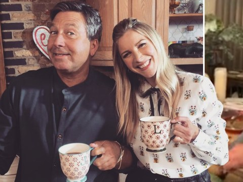 Lisa Faulkner and John Torode are goals as she returns home to find him cooking her a special steak dinner