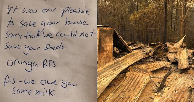 Firefighter leaves note saying 'we owe you milk' after saving man's house