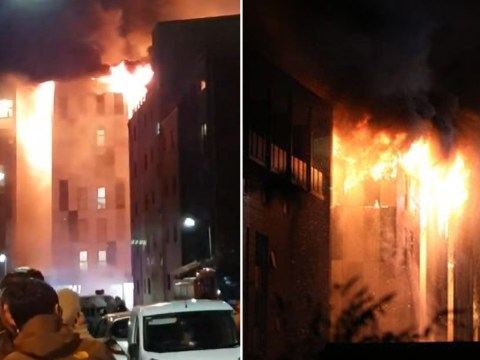 Students evacuated as huge fire breaks out at university accommodation block