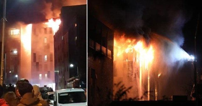 Students evacuated as huge fire breaks out at university accommodation