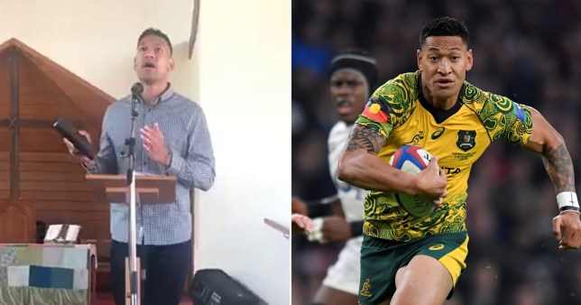 Israel Folau told a church in Sydney that the bush fires sweeping parts of Australia can be blamed on same sex marriage and abortion (Picture: Facebook/Getty)
