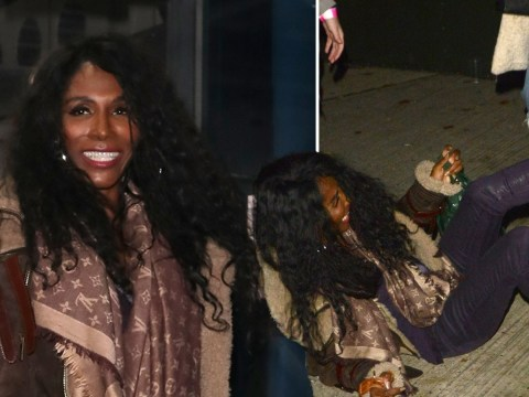 Sinitta still all smiles as she takes a nasty tumble leaving X Factor studio