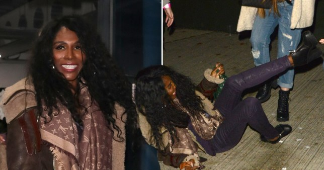 Sinitta all smiles as she takes a tumble