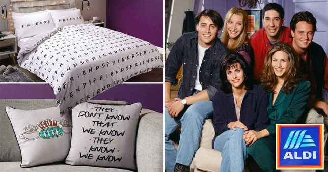 Split image of Aldi's new Friends range of a duvet set and pillows, with the Friends cast on the other side