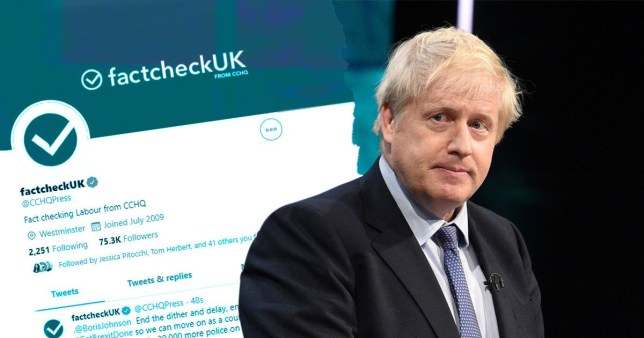 The account description during the debate was 'Fact Checking Labour from CCHQ'