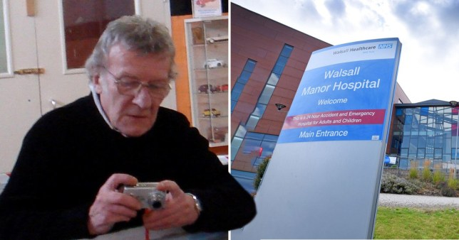 Malcom Pinches, 80, and picture of Walsall Manor Hospital, West Midlands