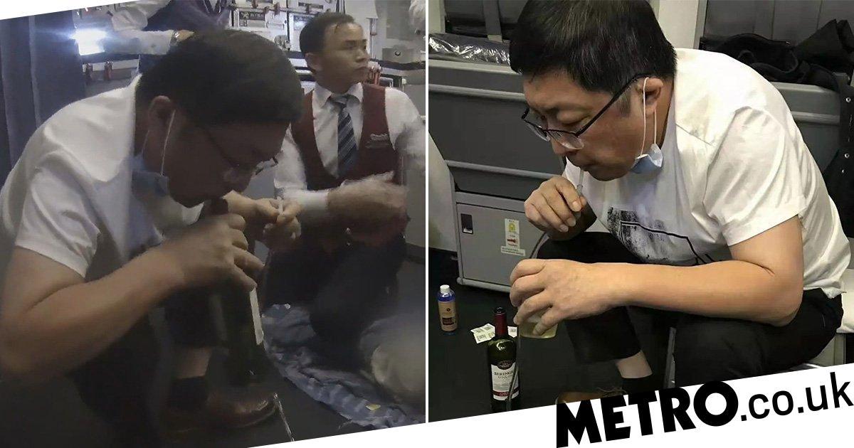 Doctor sucks urine from elderly man in mid-air emergency on flight