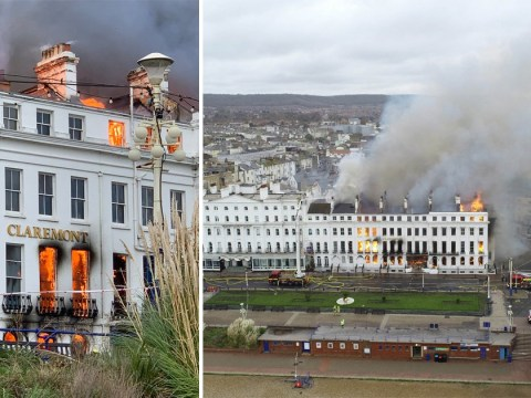 Hotel destroyed after major fire breaks out and rips through building