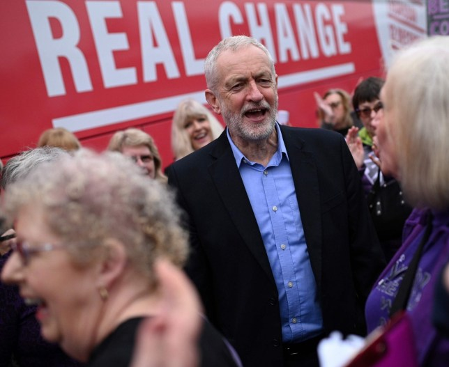 Britain's Opposition Labour party leader Jeremy Corbyn greets supporters after an election campaign event in Renishaw, northern England on November 25, 2019. (Photo by Oli SCARFF / AFP) (Photo by OLI SCARFF/AFP via Getty Images)