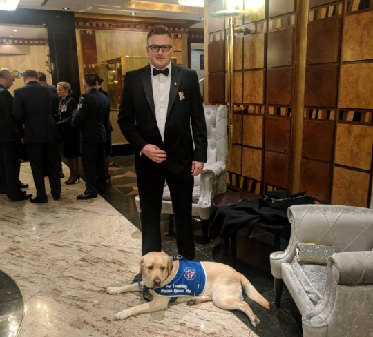Ex-British army medic Richard Mearns and support dog Ziggy