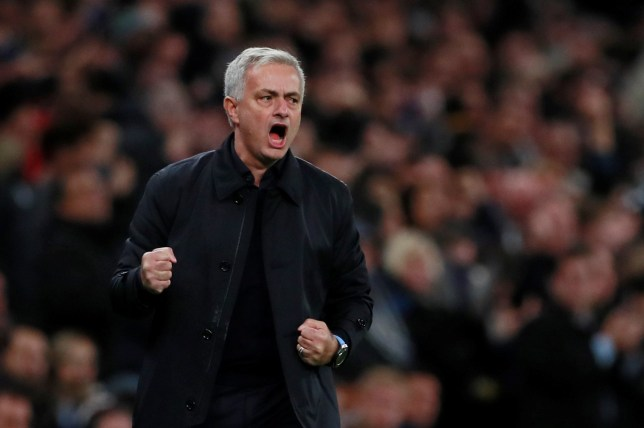 Jose Mourinho yells in celebration after a goal for Tottenham
