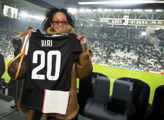 TURIN, ITALY - NOVEMBER 26: Singer Rihanna with Juventus' t-shirt attends the UEFA Champions League group D match between Juventus and Atletico Madrid at Allianz Stadium on November 26, 2019 in Turin, Italy. (Photo by Giorgio Perottino - Juventus FC/Getty Images)