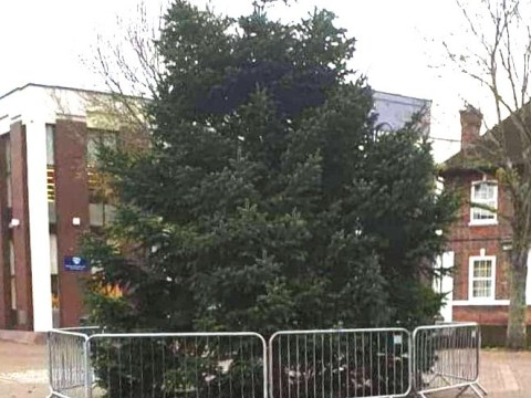 Council ridiculed for putting up 'half a Christmas tree'
