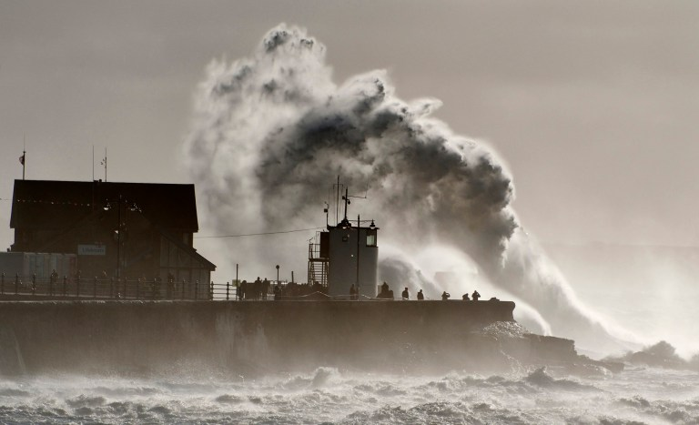 ? Licensed to London News Pictures. 02/11/2019. Porthcawl, UK. Massive waves crash against the harbour wall as gale force winds and rain lash the seaside resort of Porthcawl in Bridgend, UK. Photo credit: Graham M. Lawrence/LNP