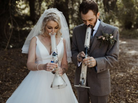 Couple toast their marriage with Mr and Mrs bongs on wedding day