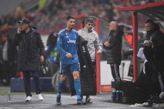 Juventus' Portuguese forward Cristiano Ronaldo walks towards the bench during the UEFA Champions League group D football match between FC Lokomotiv Moscow and Juventus
