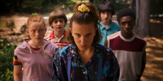 Sadie Sink as Max Mayfield, Noah Schnapp as Will Byers, Millie Bobby Brown as Eleven, Finn Wolfhard as Mike Wheeler and Caleb McLaughlin as Lucas Sinclair in Stranger Things