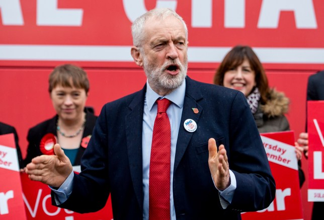 epa07978624 Labour Party leader Jeremy Corbyn unveils Labour's general election campaign bus in Liverpool, Britain, 07 November 2019. Britons go to the polls on 12 December in a general election. EPA/PETER POWELL