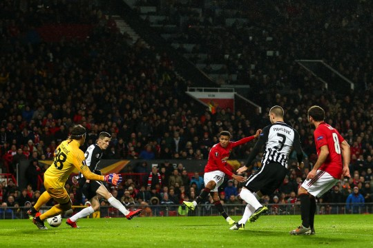 Mason Greenwood of Manchester United scores a goal to make it 1-0 during the UEFA Europa League group L match between Manchester United and Partizan