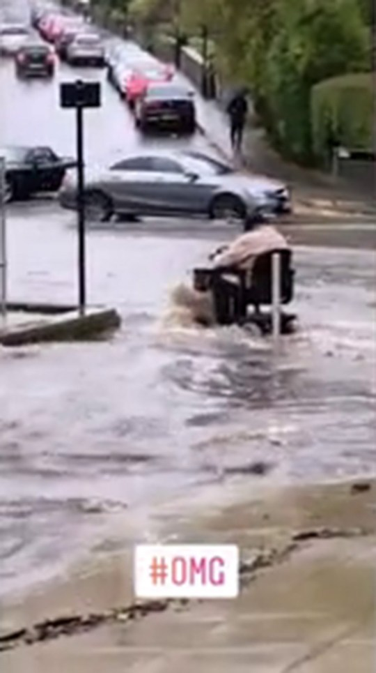 OAP battles Yorkshire floods on her mobility scooterPicture: Deadline News