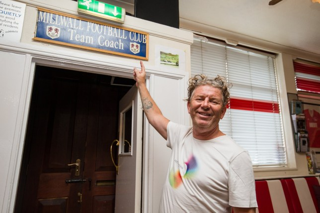 FILE PHOTO - Pub landlord Sean Donnelly with the Millwall FC sign that did hang in the Three Lions pub in Bedminster, Bristol before it was given to London Terror attack victim Roy Larner.