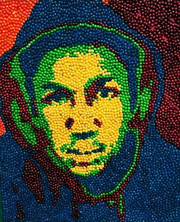 Portrait of Trayvon Maryin using Skittles