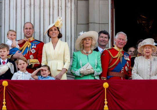 Mandatory Credit: Photo by REX/Shutterstock (10298792ad) Prince William, Catherine Duchess of Cambridge, Prince Louis, Prince George, Princess Charlotte, Camilla Duchess of Cornwall, Tim Laurence, Prince Charles and Queen Elizabeth II Trooping the Colour ceremony, London, UK - 08 Jun 2019