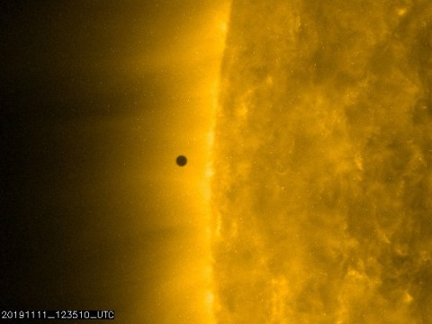 Nasa reveals pictures of Mercury as observers witness rare solar transit