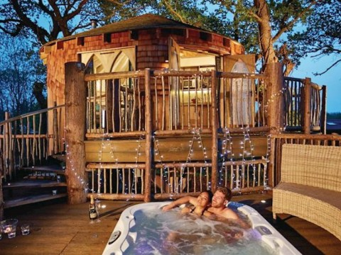 You can now stay in a stunning secluded tree house with a hot tub
