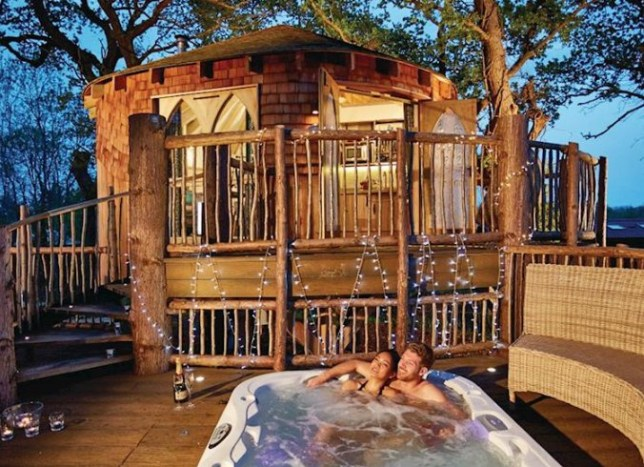 The tree house and hot tub