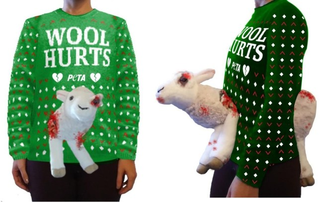 PETA has launched a scary Christmas jumper featuring a mutilated sheep