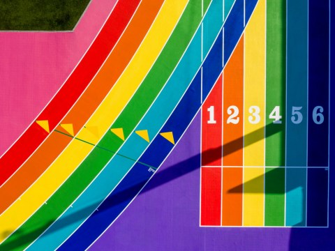 Nike transformed this LA running track into a giant rainbow Pride flag