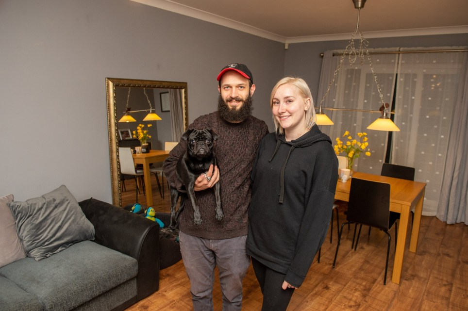 Deena Mallon with partner Josh Smith and Woof the dog in there home, Chatham, Kent, 13th November 2019 Metro feature Me and My home Deena Mallon and Josh Smith