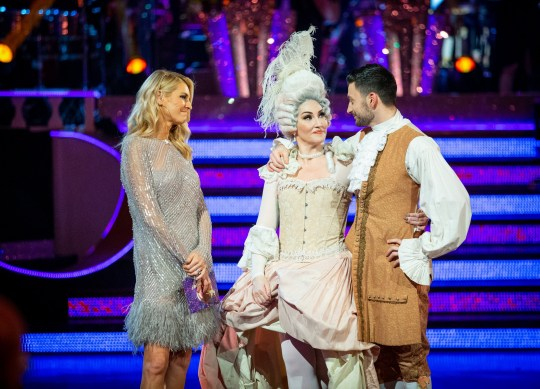 WARNING: Embargoed for publication until 20:00:00 on 17/11/2019 - Programme Name: Strictly Come Dancing 2019 - TX: 17/11/2019 - Episode: Strictly Come Dancing 2019 - TX9 RESULTS SHOW (No. n/a) - Picture Shows: **RESULTS SHOW - EMBARGOED FOR PUBLICATION UNTIL 20:00 HRS ON SUNDAY 17TH NOVEMBER 2019** Michelle and Giovanni leave the competition Tess Daly, Michelle Visage, Giovanni Pernice - (C) BBC - Photographer: Guy Levy