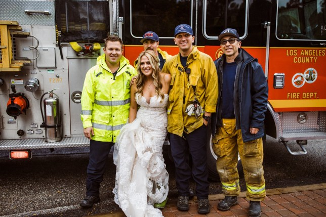 MUST LINK TO PHOTOGRAPHER WEBSITE on article - amyvanvlear.com Making an entrance! Bride is driven to her wedding in a FIRE TRUCK after being rescued by a group of Los Angeles firefighters when a car crash left her limo stuck in traffic Los Angeles County firefighters were at the scene of a car accident in March when they saw Julie Gorman and her bridesmaids walking on the side of the road The bride explained that their limousine was stuck in traffic, and they were late for her wedding to her now-husband Geof Gorman The firefighters loaded Julie and her bridesmaids into their fire truck and gave them a Code 3 escort the wedding venue