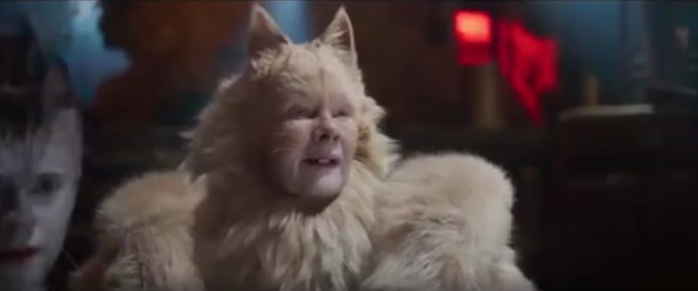 Dame Judi Dench acting in the Cats film