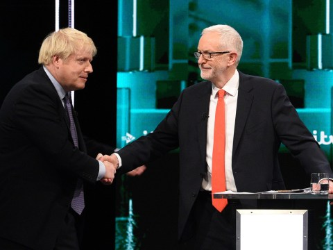 Boris Johnson and Corbyn share awkward handshake during live TV clash