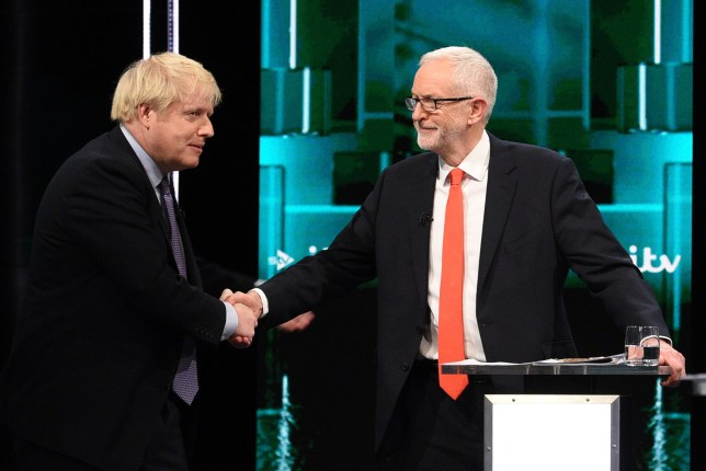 THESE PICTURES ARE AVAILABLE FOR EDITORIAL USE ONLY UNTIL DECEMBER 19TH 2019 Handout photo issued by ITV of Boris Johnson and Jeremy Corbyn shaking hands during the Election head-to-head debate on ITV, prior to the General Election on December 12. PA Photo. Picture date: Tuesday November 19, 2019. See PA story POLITICS Election. Photo credit should read: ITV/PA Wire NOTE TO EDITORS: This handout photo may only be used in for editorial reporting purposes for the contemporaneous illustration of events, things or the people in the image or facts mentioned in the caption. Reuse of the picture may require further permission from the copyright holder.